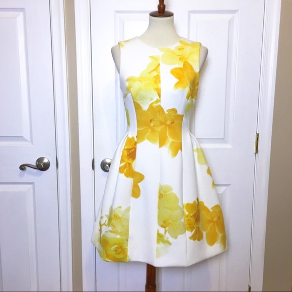 Calvin Klein Dresses & Skirts - Calvin Klein White Floral Fit & Flare Dress Size 6